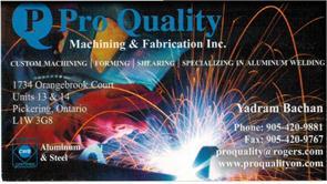 Pro Quality Machining And Fabrication Inc.